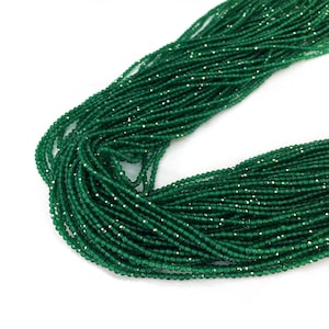 2MM Faceted Emerald Beads , Green Gemstone Beads , Round Emerald Beads , Tiny Natural Stone Beads , July Birthstone, 15.5 inch  Strand