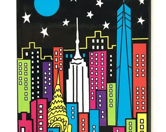New York Magnet City At Night Skyline Refrigerator Magnet NY Souvenir 2.5 x 3.5 Glossy Metal Painting by Mary Ellis