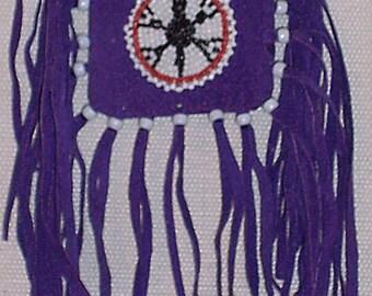 Native American Purple Pigskin Leather Medicine Bag W/ Beaded Turtle Rosette
