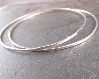 Silver bangles, Skinny Bangles Set of Two