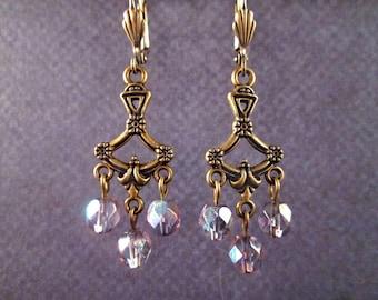 Chandelier Earrings, Blue Glass Beaded, Brass Drop Earrings, FREE Shipping U.S.