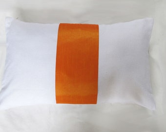 White orange rectangle throw pillow cover 12X18 inch long cushion cover