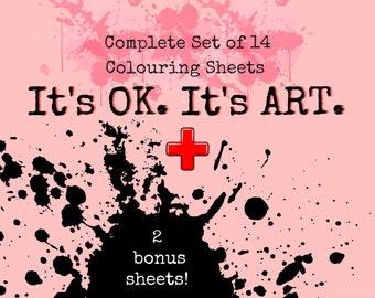 I Swear Coloring BOOK (14 + 2 bonus Coloring Sheets) Digital Download, Adult Coloring BOOK, Printable Coloring Page, Swear Word Colouring