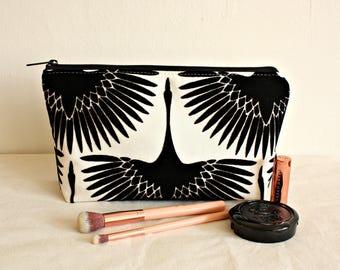 Crane makeup pouch, waterproof lining, makeup bag,toiletry bag,  cotton zipper bag, organizer, large pouch - Ready