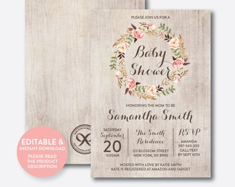 Instant Download, Editable Floral Baby Shower Invitation, Floral Invitation, Flower Baby Shower Invitation, Boho Rustic Baby Shower (FBS.06)