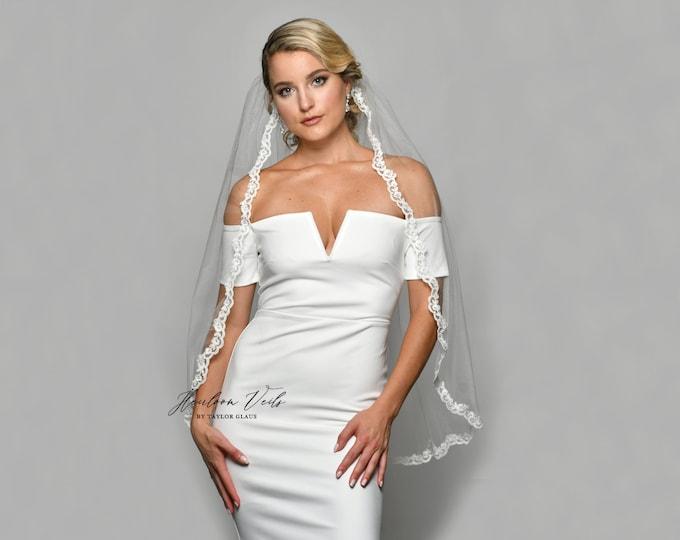 Lace Wedding Veil, Simple Wedding Veil, Multiple Lengths and Colors, Customized Wedding Veil SC-11