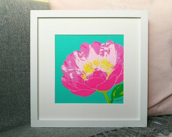 Peony Screen Print, Square Screenprints, Floral Art Screenprint, Peony Bloom, Flower Art Print, Pink Flower Print, Abstract Floral Art