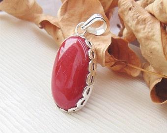 Designer Coral Pendant-Coral Fancy Shape Jewelry-Cabchon Coral Silver Pendant Jewelry-Coral Handmade Pendant-Lovely Gift For Her-DTP-1613
