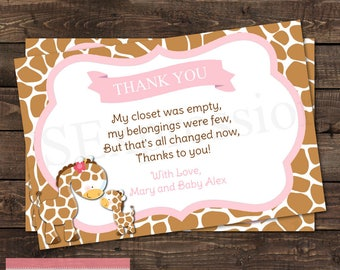 Mommy and Baby Giraffe Baby Girl Pink Baby Shower Thank You Card