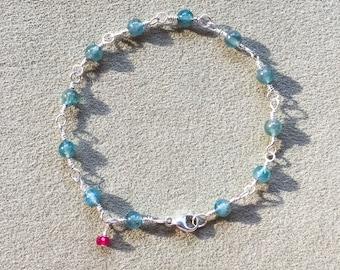 Apatite, Ruby Bracelet, Argentium Sterling Silver Beaded Wire Wrapped Bracelet, Apatite Gemstones, Meditation bracelet