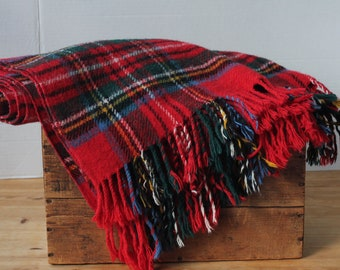 Vintage Scottish All Wool Rug Shawl Red Green Yellow Blue Tartan Plaid Dress Stewart Clan woven in the U.K.