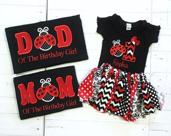 Personalized Ladybug Family 1st First  Birthday  Embroidered TShirt or Bodysuit and Tutu Outfit -