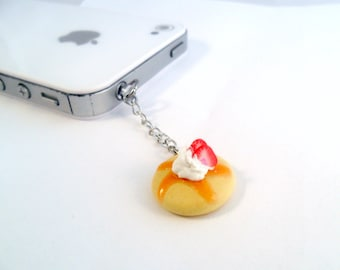 Strawberry Pancake Dust Plug Charm, For iPhone or iPod, Kitsch Tiny pancakes, Phone Charm, Cute And Kawaii :D
