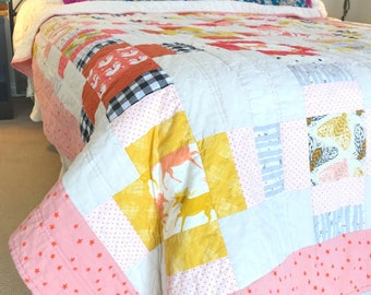 Woodland Twin Quilt - Vintage Modern Bed - Handmade Patchwork - Yellow Pink Black Buffalo Check Plaid Fox Squirrel Unicorn - Extra long twin