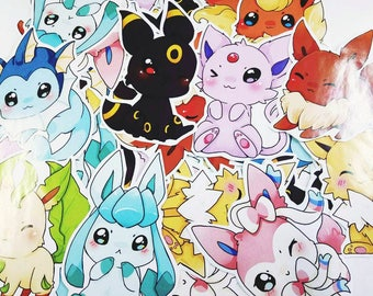 Chibi eevee eeveelutions paper sticker set - pokemon