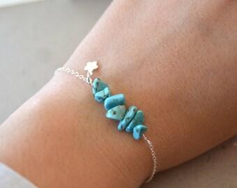 Turquoise stones 925 sterling silver bracelet
