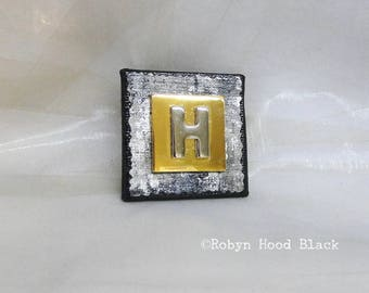 Letter H Silver and Gold Vintage Metal Letter Magnet 2 X 2