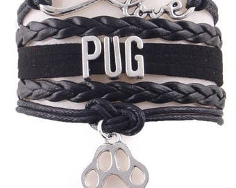 Love Pug Adjustable Wrap Bracelet