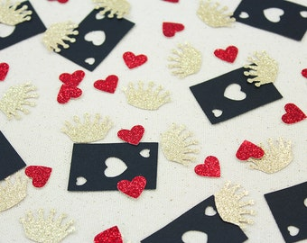 Alice in Wonderland Queen of Hearts Glitter Confetti - 100 pieces - Table confetti, Party Decorations