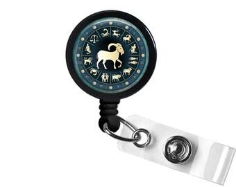Zodiac Sign Capricorn  Photo Glass/ Bottle Cap Retractable ID Badge Reel, Nurse Badge Reel