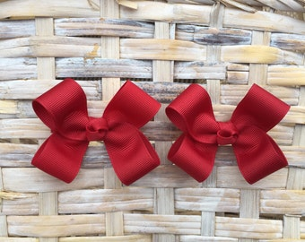Cranberry Hair Bows,Pigtail Hair Bows,Baby Hair Bows,Toddler Hair Bows,Non slip,3 Inch Hair Bows
