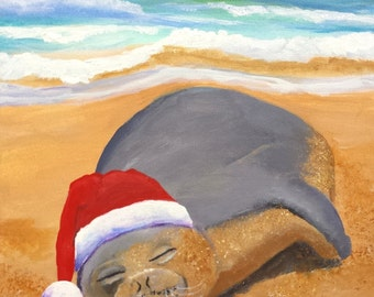 mele kalikimaka hawaiian monk seal original acrylic painting from kauai hawaii christmas holiday santa hat animals art for kids children
