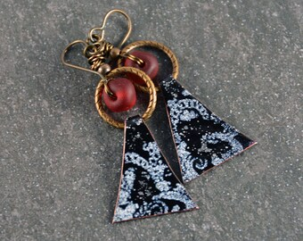 Boho Chic Enameled Copper Charm Wirewrapped  Modern Earrings