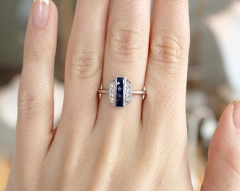 18k White Gold Sapphire 0.41ct and Diamond 0.10ct Art Deco ring by Beverley K Vintage style