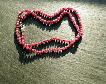 Chain, Ruby, Ruby necklace, Pearl necklace, red, silver, knotted