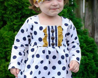 Ruby's Ruffle A-line Top & Dress . PDF sewing pattern for toddler girl sizes 2t - 12.