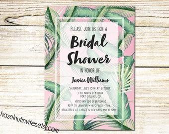 Palm Invitation Bridal Shower, Tropical invitation, Banana Leaf, Printable, Digital Download _2020