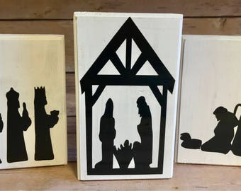 Nativity Scene Blocks, Nativity Silhouette Blocks, Holiday Decor, Christmas Decor Wood Blocks
