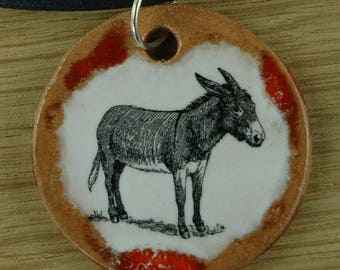 jewelry pendant with a cute donkey; ass, farm, animal, burro, jackass