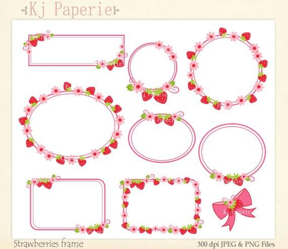 Items similar to frames Clip Art, Strawberry frame,girl frames Clip ...