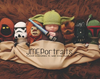 Baby Yoda Hat Photography Prop, MADE TO ORDER