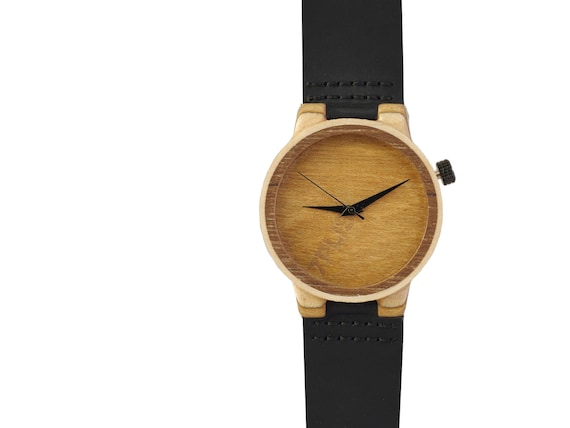 7PLIS watch #098 Recycled SKATEBOARD #madeinfrance Black beige wood