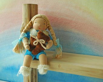 Waldorf education Girltoy Wire frame doll Waldorf inspired toy Doll with teddy bear Long hair doll Steiner doll Hand sewn doll Interior doll