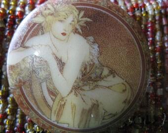 Alphonse Mucha Art Nouveau Lounging Lass In Czech Glass Button 42mm
