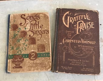 2 Early 1900s Hymnals w great Covers & old Songs of Praise