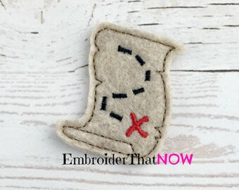 Treasure Map Digital Feltie Embroidery Design Files