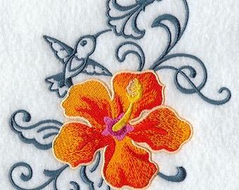 Hibiscus and Hummingbird Echo Embroidered Flour Sack Hand/Dish Towel