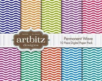 "Permanent Wave 10 Piece Digital Scrapbooking Paper Pack, 12""x12"", 300 dpi .jpg, Instant Download!"