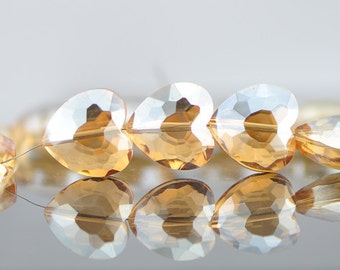 48pcs Faceted Heart Crystal Glass beads 16mm Champagne -(TS21-6)