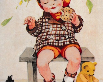 Vintage children's print, book illustration of little red cheeked boy sharing currant bun with birds, matted for framing, 8 x 10 ins, 1950s