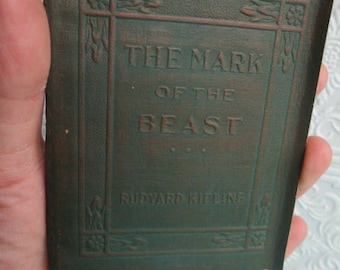 The Mark of the Beast by Rudyard Kipling - RARE Miniature Book Little Leather Library 1920s Antique Vintage