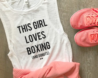 This Girl Love Boxing and Donuts Tank Top, Boxing, Funny Boxing Tank, Womens Workout Tank, Kickboxing Tank, Funny Workout Tank, Gym Tank