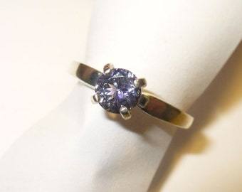 Genuine Tanzanite Ring  -   Natural Mined-from-Earth Blue Gemstone in Solid Sterling Silver - Size 7