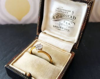 Vintage 9ct Yellow & White Gold Diamond Cluster Ring 0.15ct   Engagement