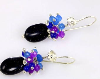 Blue Sand Stone, blue Sapphire, and Rose Alexandrite Dangle Earrings, Colorful Gemstone Earrings