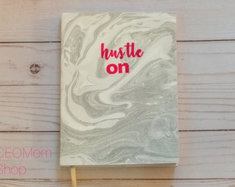 Hustle On Marble Journal, Marble Journal, Journals for Moms, Hustle, Hustle Notebook, Pink Jounral, Office Supplies, Cute Notebooks